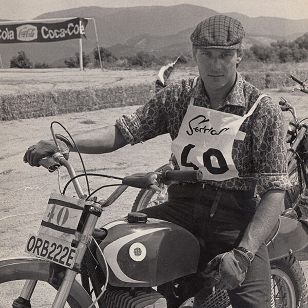 Mick Andrews sitting on his Ossa-GBR
