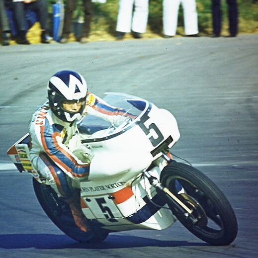 Peter-Williams racing on a Norton motorbike